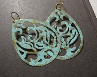 Statement Earrings Bohemian Lace Boho Earrings Lace Filigree Verdigris Teal Blue Turquoise Moroccan Dangle Bold Gypsy Large Drops Patina