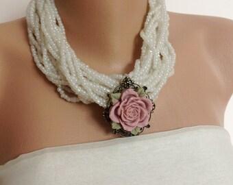 handmade beaded chunky necklace, beaded necklace with pendant,beaded necklace handmade, beaded necklace boho, resin rose necklace