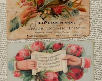 VINTAGE CALLING CARDS Set/2  Victorian Antique Valentine