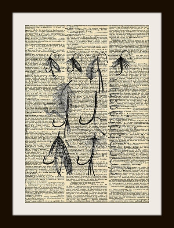 Fly Fishing Tackle Lures Art Print on GOLD Gilded Vintage Dictionary Page