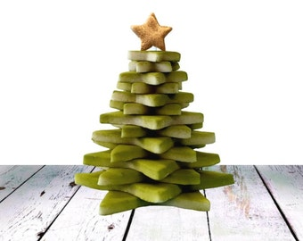 Marzipan Christmas Tree!  Handcrafted 3D Tree with a Painted Gold or Silver Star - Stunning Edible Gift for Xmas!