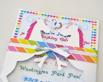 Unicorn Invitation, Unicorn Party, Rainbow Girl Birthday Party Invitations