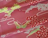 Vintage Japanese Kimono Fabric - Butterfly on Dark Dusty Pink