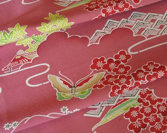 Vintage Japanese Kimono Fabric - Butterfly on Dark Dusty Pink