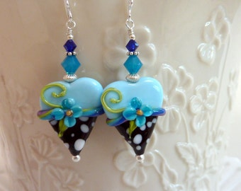 Creamy Blue Heart Earrings, Aqua Black Hearts, Floral Heart Earrings, Handmade Lampwork, Sterling Silver, Gift for Her