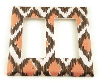 Light Switch Cover Wall Decor Rocker Double Switchplate  Single Light Switch Plate in Ikat Coral and Gray (116DR)