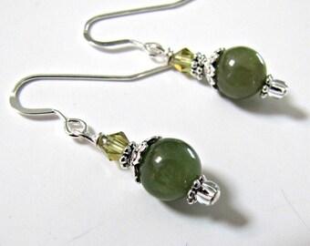 Green Kyanite Earrings, Beaded Earrings, Dangle Earrings, Gemstone Earrings, Sterling Filled or Stainless Steel Earwires,  Accessories #1192