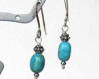 Kingman Turquoise Earrings, Beaded Earrings, Dangle Earrings,  Sterling, Turquoise Gemstone Earrings, Turquoise Nugget Earrings, Accessories