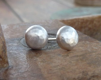 Silver studs earrings, eco friendly studs, Matte silver studs earrings, studs earrings
