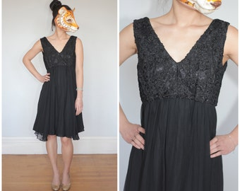 Vintage 60s Black Empire Waist Short Party Textured Lace Tank Dress with Swinging Pleated Chiffon Skirt | Small Medium