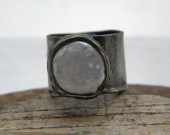 White Pearl  ring - soldered statement ring - copper ring -  OOAK