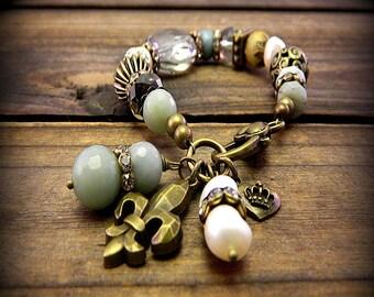 Mermaid Secrets, Western Cowgirl Southwestern Boho Aquamarine & Pearl Semi Precious Stone Bracelet- Charm Bracelet- Crystal Charm Bracelet