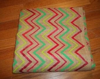 Burlap Fabric Metallic Holiday Burlap Red and Green Chevron Print Burlap