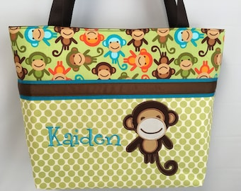 Zoologies  .... Appliqued MONKEY Diaper Bag ... Personalized FREE