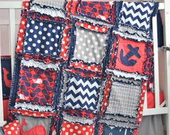 Nautical Baby Bedding Baby Boy Nursery - Navy / Red / Gray - Boy Rag Quilt Nautical Bedding - Anchor Baby Blanket - Baby Boy Quilt Boat