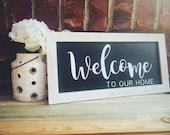 Welcome Sign, Hanging Welcome Sign, Wreath Sign, Wood Porch Sign, Farmhouse Home Decor, Welcome to Our Home Sign, Front Door Sign, Rustic