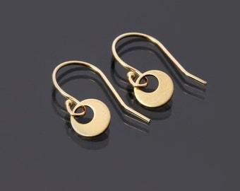 Dainty 14K Gold Earrings, tiny gold circle earrings, simple gold earrings, 14k gold jewelry, minimalist jewelry, minimalist earrings