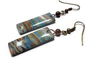 Tiger's Eye Dangle Earrings- polymer clay jewelry- Resin earrings- Polymer Clay Earrings- Ready to Ship- Turquoise Earrings