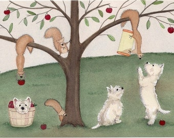 West Highland Terriers (westies) curious about squirrels / Lynch signed folk art print