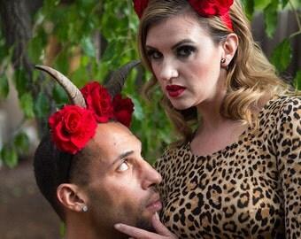 Horns, Goat horns, Horn headdress, Horn, Burning man, Coachella, EDM, Rose crown, Red rose, Rose flower crown, Flower crown, MsFormaldehyde