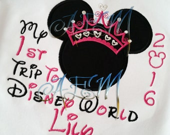 My 1st 2nd 3rd trip Embroidered Mousehead Minnie Tiara white Shirt 2017 (4 weeks until shipped)