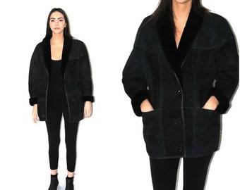 vintage sheepskin cocoon coat 80s dark green suede minimalist shearling slouchy long jacket medium os