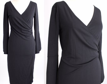 Vintage Little Black Dress | Polyester Crepe Wrap Dress | Petal Sleeve LBD | S-M