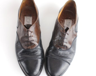 size 7.5 | Joan & David Leather Oxfords | Vintage Calfskin Shoes | Two Tone Leather Brogues | 38