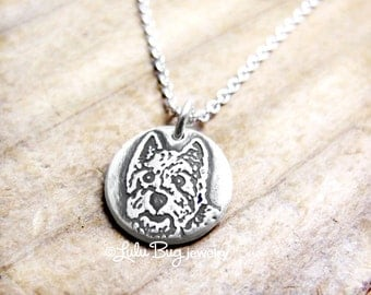 Tiny Westie necklace, West Highland White Terrier necklace, silver Westie jewelry, dog memorial necklace, remembrance jewelry