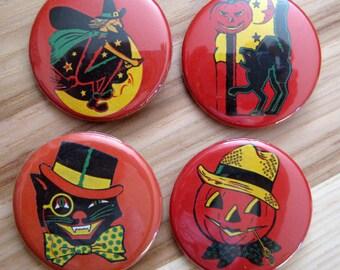 Vintage Halloween Pinback Button Set