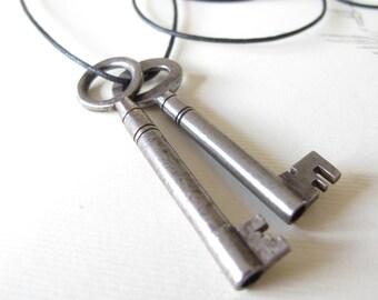 Vintage skeleton key Necklace two old keys on cotton cord