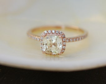 Yellow Champagne sapphire ring.  Engagement Ring square cushion 14k rose gold diamond ring. 1.55ct sapphire ring by Eidelprecious.