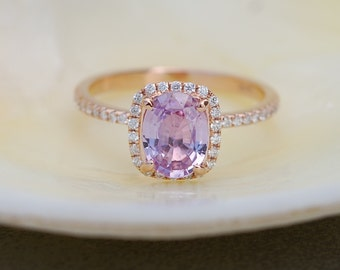 Lilac Sapphire ring 14k rose gold diamond  Engagement Ring 1.45ct Cushion Peach Pink Champagne sapphire