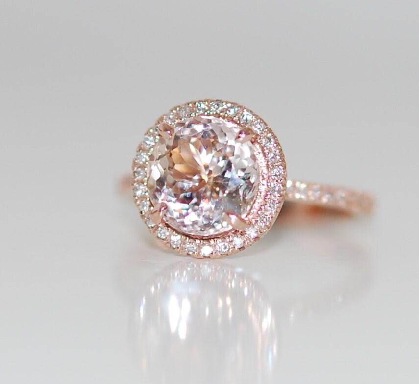 Peach Champagne Sapphire Diamond Ring 14k Rose By
