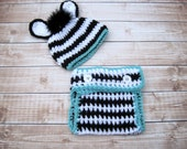 Crochet Baby Hat, Baby Zebra Hat, Baby Boy Hat, Baby Diaper Cover, Newborn Hat, Infant Hat, Newborn Boy Hat, 0-3 months, 3-6 months