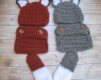 Twin Baby Costumes, Twin Costumes, Twin Outfits, Newborn, Twin Halloween Costume, Baby Fox Costume, Baby Wolf Costume, Costumes for Babies,
