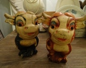 Vintage Pair Shabby Western Cow Figurines Carnival