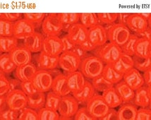ON SALE 8/0 Opaque Sunset Orange Toho Glass Seed Beads 2.5 inch tube 8 grams TR-08-50