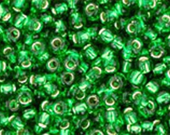 11/0 Silver Lined Grass Green Toho Glass Seed Beads 2.5 inch tube 8 grams TR-11-27B