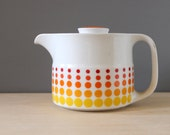 1960s Noritake Primadura tea pot. Yellow and orange polka dots.