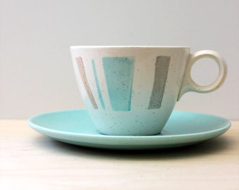 Vernonware Anytime cup and saucer, mid century modern serving.