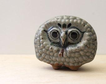 Jorge Wilmot Owl. Tonala bird figurine, Mexican pottery.