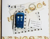 Handmade Gift and Card - Dr Who Tardis - Steampunk - Time Travel
