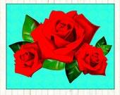 Roses Poster Instant Digital Download Retro Art Print Boho Tattoo Modern Floral Home Decor Red Aqua Blue Mid Century Style Illustration