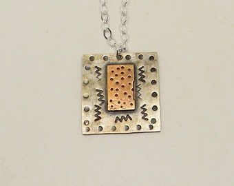 Sterling silver mixed metal jewelry necklace pendant. Steampunk jewelry pendant.
