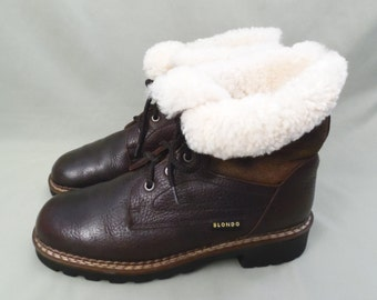 90's BLONDO shearling wool boots // lace up hiking boots // fleece lined // leather uppers // Made in Canada // USA women's size 8