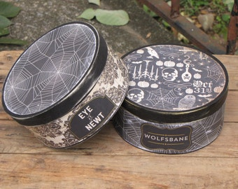 2 Vintage Inspired Halloween Witch's Potion Wooden Shaker Boxes Black and Cream
