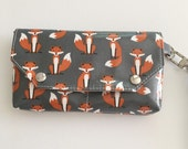 Wristlet Wallet, Laminated Wallet, Organizer, Vegan Wristlet, Waterproof Clutch, Fox Purse, iPhone Holder, Summer Bag, Purse Organizer