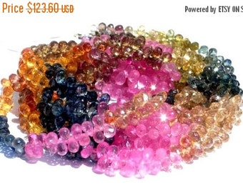 55% OFF SALE 1/2 Strand -  High Quality, Extremely Beautiful Genuine AAA Multi Sapphire Micro Faceted Tear Drop Briolettes Size  4.5 - 5mm a