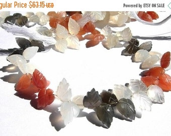 50% Off Valentine day Full 7.5 Inches Extremely Beautiful Genuine AAA Multi Moonstone Carved Leaf Briolettes 7x10 - 12x8mm approx